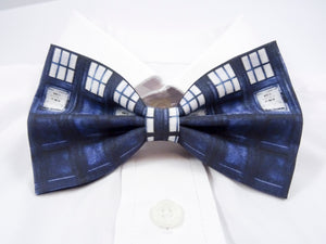 DISCONTINUED Blue Police Box Pre-Tied Bow Tie