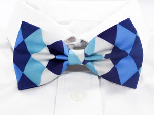 Blue and White Diamonds Pre-Tied Bow Tie (DISCONTINUED)
