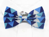 Blue and White Triangles Pre-Tied Bow Tie (DISCONTINUED)