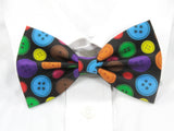 Rainbow Buttons Pre-Tied Bow Tie (Black)