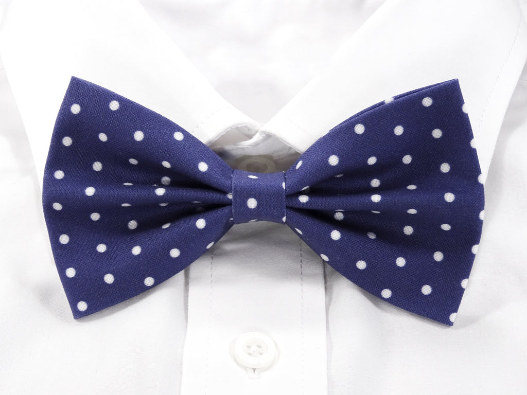 Dark Blue with White Polka Dots Pre-Tied Bow Tie (DISCONTINUED)