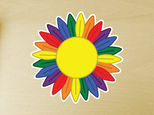 Gay Pride Sunflower 10cm Vinyl Sticker
