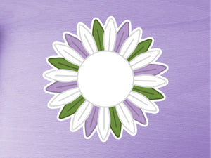 Large Genderqueer Pride Sunflower Vinyl Sticker 10cm / 4 inches