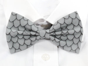 DISCONTINUED Grey Dragon Scales Pre-Tied Bow Tie