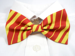 DISCONTINUED Red and Yellow Striped Pre-Tied Bow Tie