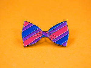 SECONDS Bisexual Pride Bow Tie Enamel Pin