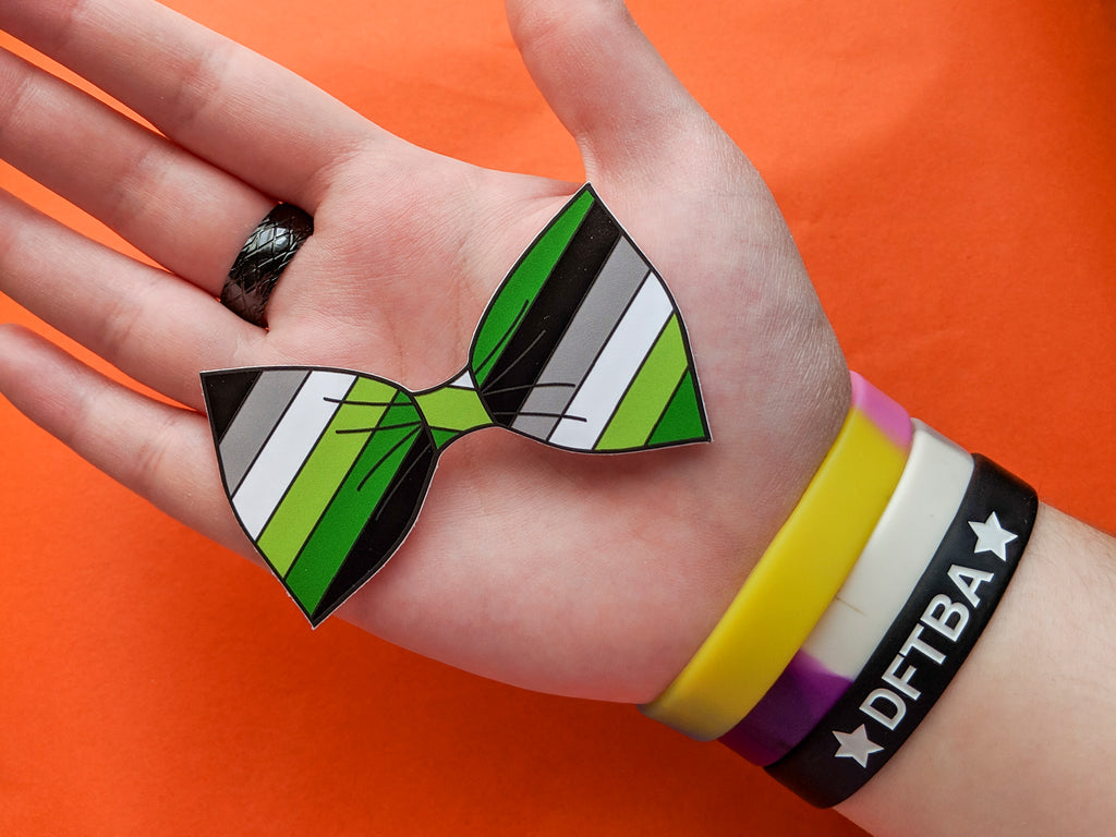 Aromantic Pride Flag Bow Tie 8cm Vinyl Sticker