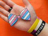 Transgender Pride Flag Bow Tie 8cm Vinyl Sticker