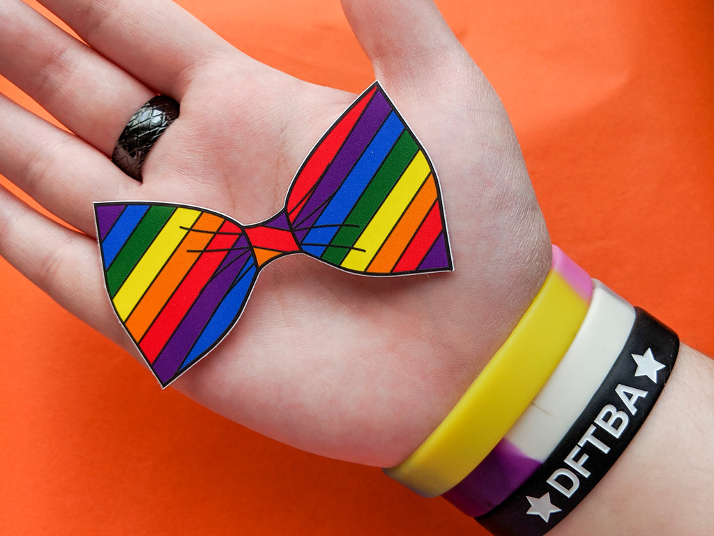 Gay Pride Flag Bow Tie 8cm Vinyl Sticker