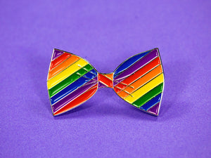 SECONDS Gay Pride Bow Tie Enamel Pin
