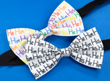 He Him His Pre-Tied Bow Tie in White and Black