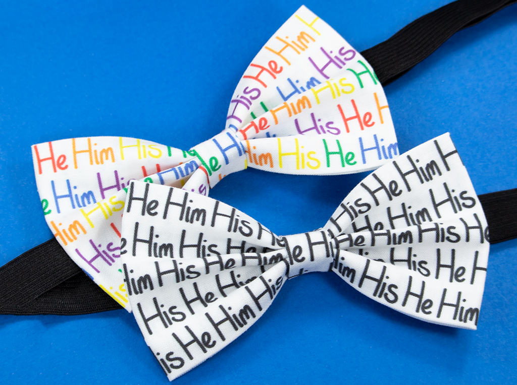 He Him His Pre-Tied Bow Tie in Rainbow