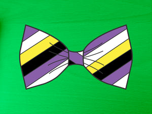 Non Binary Pride Flag Bow Tie 8cm Vinyl Sticker