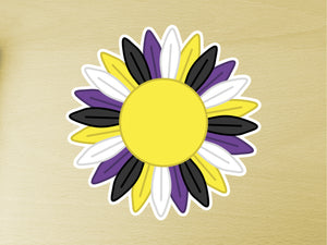 Large Non Binary Pride Sunflower Vinyl Sticker 10cm / 4 inches