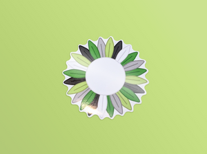 Small Aromantic Pride Sunflower Vinyl Sticker 5cm / 2 inches