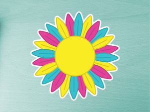 Pansexual Pride Sunflower 10cm Vinyl Sticker