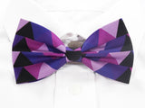 DISCONTINUED Pink and Black Triangles Pre-Tied Bow Tie