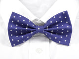 DISCONTINUED Purple with White Polka Dots Pre-Tied Bow Tie