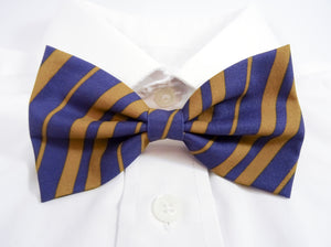 Dark Blue and Bronze Striped Pre-Tied Bow Tie (DISCONTINUED)