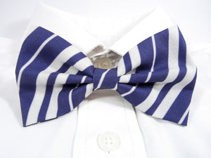 Dark Blue and White Striped Pre-Tied Bow Tie (DISCONTINUED)