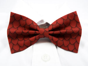 DISCONTINUED Red Dragon Scales Pre-Tied Bow Tie