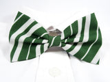 Green and White Striped Pre-Tied Bow Tie (DISCONTINUED)