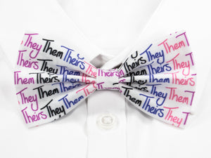 They Them Theirs Pre-Tied Bow Tie in Genderfluid Pride Flag Colours