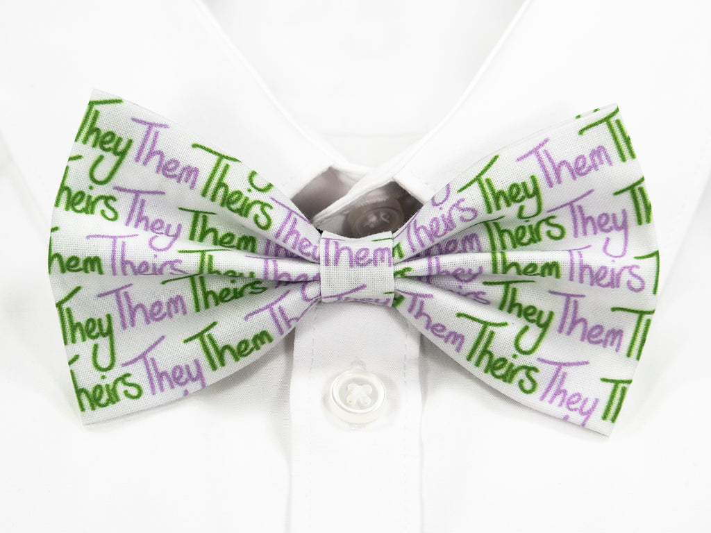 They Them Theirs Pre-Tied Bow Tie in Genderqueer Pride Flag Colours