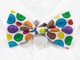 Rainbow Buttons Pre-Tied Bow Tie (White)