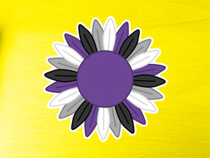 Asexual Pride Sunflower 10cm Vinyl Sticker