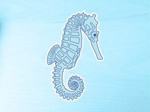 Large Blue Seahorse Vinyl Sticker 10cm / 4 inches