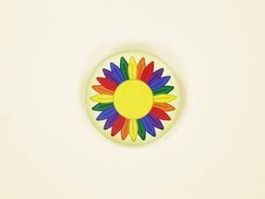 Gay Pride Sunflower 38mm Button Badge