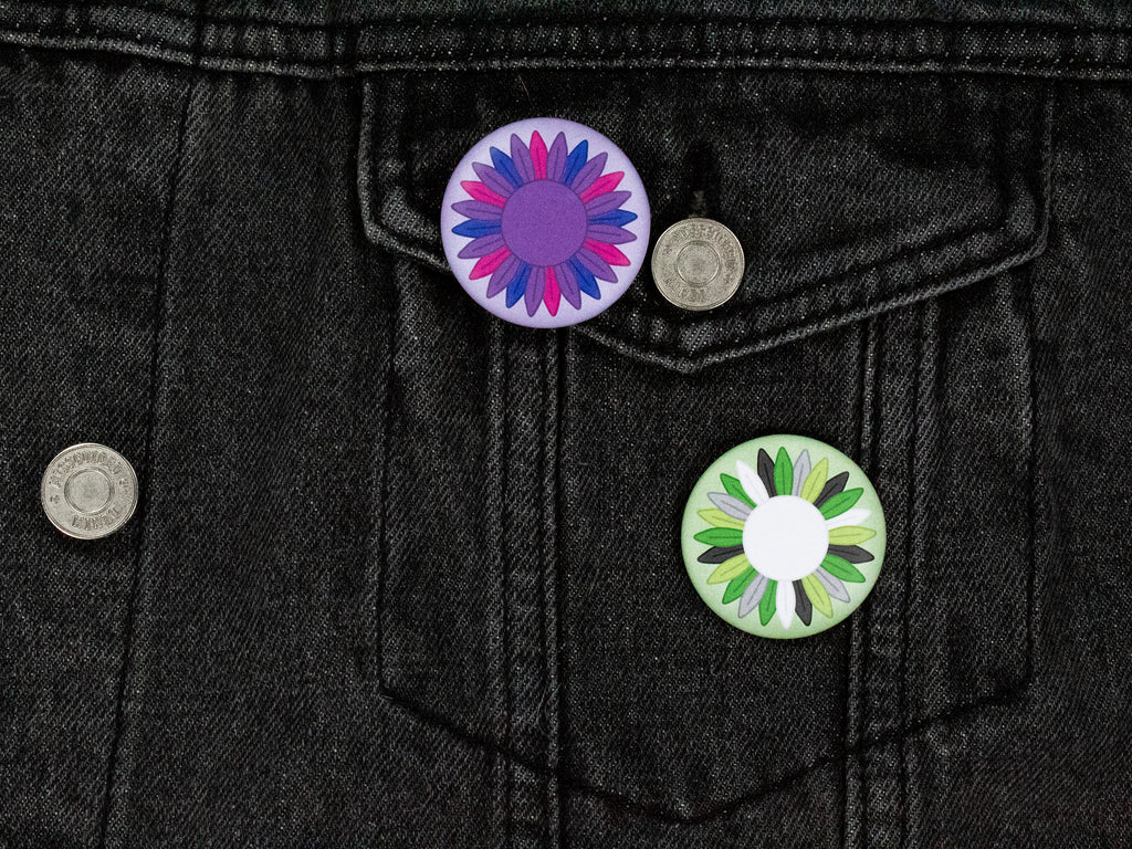 Aromantic Pride Sunflower 38mm Button Badge