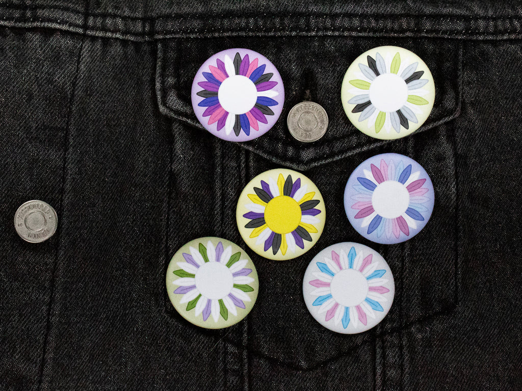 Agender Pride Sunflower 38mm Button Badge