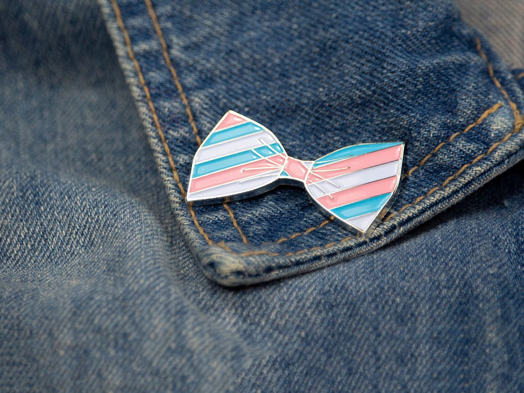 SECONDS Transgender Pride Bow Tie Enamel Pin