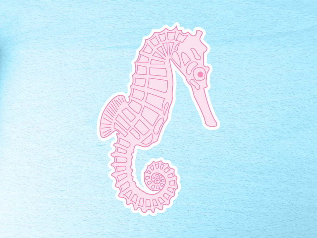 Large Pink Seahorse Vinyl Sticker 10cm / 4 inches