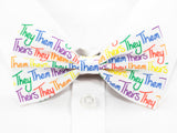 They Them Theirs Pre-Tied Bow Tie in Rainbow