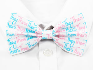 They Them Theirs Pre-Tied Bow Tie in Transgender Pride Flag Colours