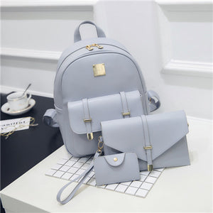 3pcs Leather Backpack set