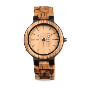 Wood Watch for Men with Week Display Date