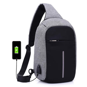 One Strap Anti Theft Backpack with USB Charging