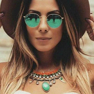 Small Round Metal Sunglasses for Women