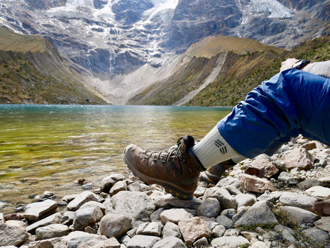 Root Republic Merino Wool Hiking Socks at Humantay Lake