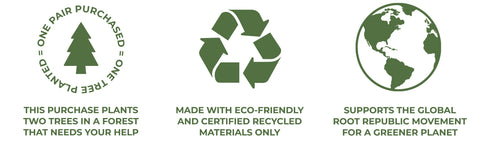 Brands that give back to the environment confidence badges Root Republic