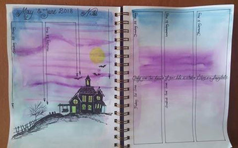 watercolour illustration of haunted house in bullet journal by Rachel Bitton