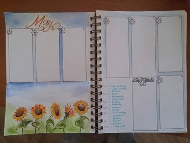 watercolour illustrated page in Rachel's planner