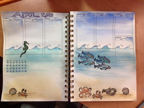 under the sea watercolour illustration in bullet journal by Rachel Bitton