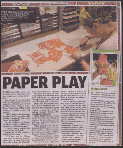 Courier Mail article on Little Deer Studio paper workshops for BrisAsia festival