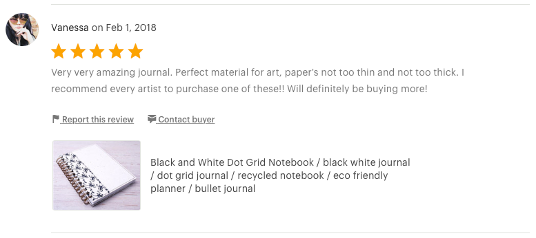Etsy customer review