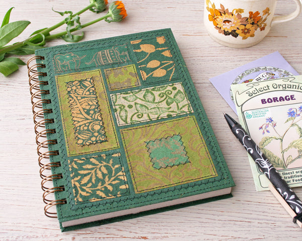 fancy green spiral notebook